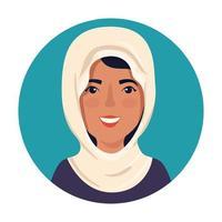 Hermosa mujer musulmana en marco circular vector