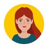 hermosa mujer de pelo rojo en el marco circular avatar personaje vector