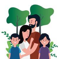 pareja de padres con hija e hijo en el parque vector