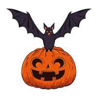 calabaza de halloween con murciélago estilo pop art vector