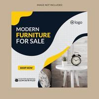 diseño de plantilla de banner de redes sociales de muebles vector
