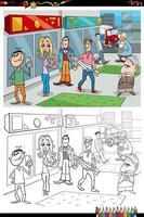 Personajes de dibujos animados de personas en la ciudad página de libro para colorear vector