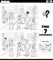 Juego de diferencias con personas de dibujos animados página de libro para colorear vector