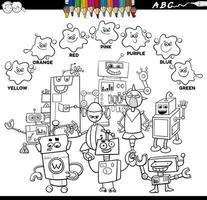 Libro de colores de colores básicos con personajes robot.