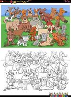 caricatura, divertido, gatos y perros, grupo, libro colorear, página vector
