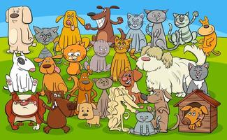 cartoon dogs and cats comic characters group vector
