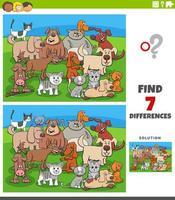 Juego educativo de diferencias con perros y gatos cómicos. vector