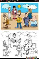 Grupo de gente divertida de dibujos animados página de libro para colorear vector