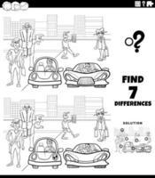 Juego de diferencias con la gente de la ciudad de dibujos animados para colorear la página del libro vector