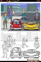 dibujos animados de personas en la calle página de libro para colorear vector