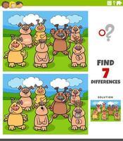 diferencias tarea educativa con perros cómicos vector