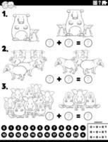 Tarea educativa de adición de matemáticas con animales cómicos.