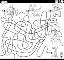 maze with girl and pets coloring book page vector