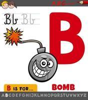 hoja de trabajo de la letra b con objeto bomba de dibujos animados vector