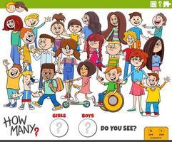 cuántos niños y niñas tarea educativa vector
