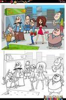dibujos animados de personas en la ciudad página de libro para colorear vector