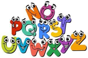 happy alphabet letter characters cartoon illustration vector