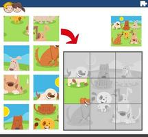 juego de rompecabezas con grupo de perros divertidos vector