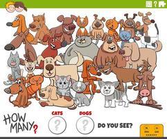 cuántos gatos y perros tarea educativa para niños vector