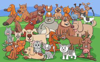 funny dogs and cats cartoon characters group vector