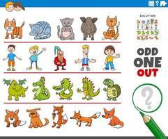 extraño juego de imágenes con personajes divertidos vector