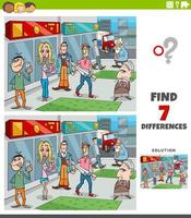 differences educational game with cartoon people group vector