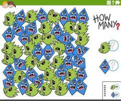 Contar personajes de monstruos tarea educativa para niños. vector