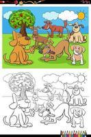 caricatura, feliz, perros, grupo, libro colorear, página vector