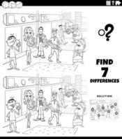 juego de diferencias con personas de dibujos animados página de libro de color vector