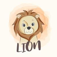 Illustration of cute lion with watercolor backdrop vector