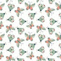 Seamless childish pattern with butterflies in the white backdrop. vector
