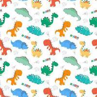 patrón de bebé para niños con lindo concepto de dinosaurios vector