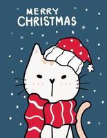 merry catmas, tarjeta de felicitación de navidad con lindo gato vector
