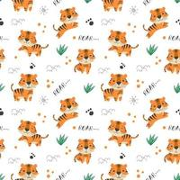 Kids baby seamless pattern with cute tiger vector