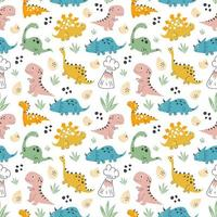 Kids baby pattern with cute dinosaurs concept vector