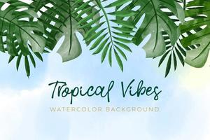 Watercolor background with green tropical concept vector