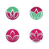 conjunto de logotipo de loto de belleza vector