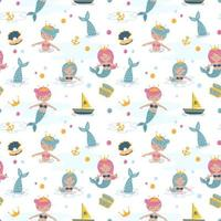 Baby seamless pattern with mermaid concept vector