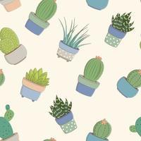 niños, bebé, seamless, patrón, con, cactus, concepto vector