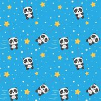 Seamless pattern with panda in the space vector
