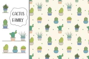 Kids baby seamless pattern with cactus concept vector