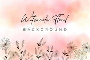 Pink Watercolor background with floral concept vector