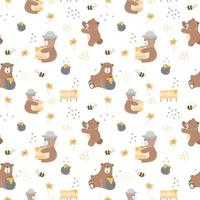 Kids baby seamless pattern with honey bear concept vector