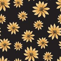 Repeat watercolor pattern of sunflowers in the black backdrop