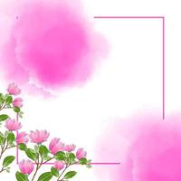 Floral watercolor background with pink concept vector