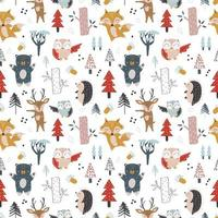 Baby seamless pattern with hand drawn animals concept vector
