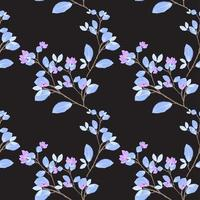 Repeat watercolor seamless pattern with black nature concept
