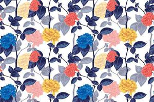 Seamless pattern of floral concept with vintage style vector