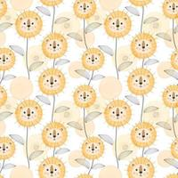 Baby seamless pattern with cute lion concept vector
