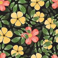 Floral pattern with watercolor style in the dark backdrop vector